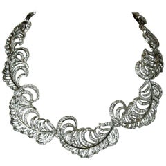 Signed Kenneth Jay Lane Rhinestone Feather Necklace
