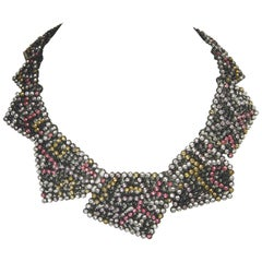 Oscar de la Renta Multicolor Geometric Runway Necklace, 1950s