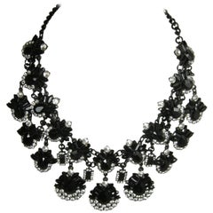 Oscar de la Renta Black Teardrop Rhinestone Bib Necklace