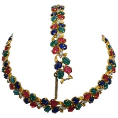 Tutti-Frutti Glass Stone Vintage Necklace and Bracelet