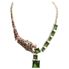 Unusual Leopard with Green, Red & Clear Crystals Necklace