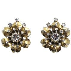 Vintage Signed Trifari Rhinestone Earrings