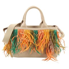 Prada Canapa Convertible Tote Canvas and Feather Mini