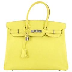 Hermes Birkin Handbag Yellow Epsom with Palladium Hardware 35