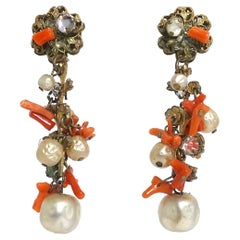 Miriam Haskell Early Vintage Coral and Faux Pearl Drop Earrings