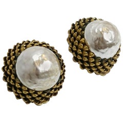 Vintage Famous Large Miriam Haskell Faux Pearl Acorn Earrings