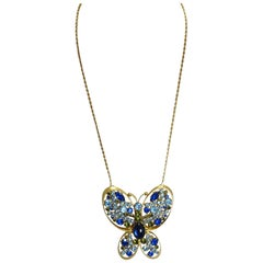 Vintage Large Butterfly With Blue Crystals Necklace