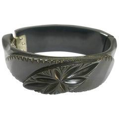 Black Bakelite Vintage Clamper Bracelet