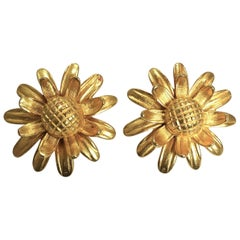 Vintage Sunflower Clip Earrings