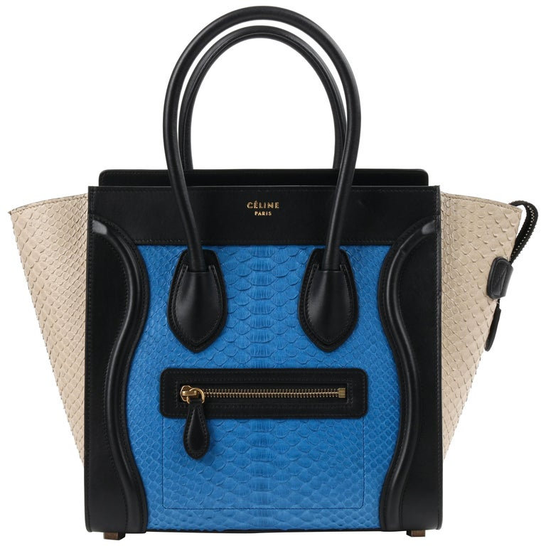 "CELINE ""Micro Luggage Tote"" Tricolor Python Leather Top Handle Handbag For Sale"