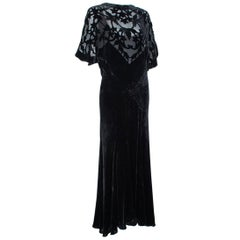 Art Deco Burnout Velvet Plunge-Back Capelet Gown, 1930s