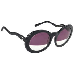 CHANEL S/S 2007 Black Round Half-tint Sunglasses S5018