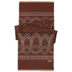 LOEWE Brown Wool Silk Floral Paisley Fringe Oblong Scarf / Shawl