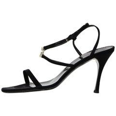 Gucci Black Satin Heeled Sandals W/ Crystal GG Logo Sz 41C Wide