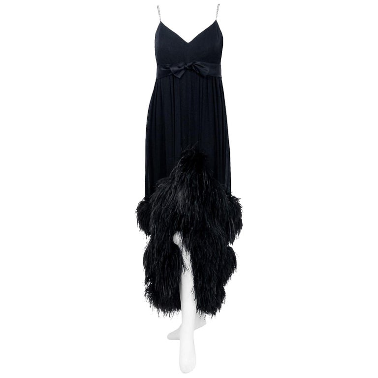 1960's Bergdorf Couture Black Silk Ostrich Feather Empire Plunge Gown with Tags