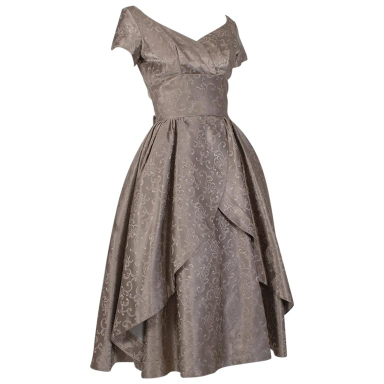 Off-Shoulder Cutaway Front Jacquard Party Dress, 1950s For Sale
