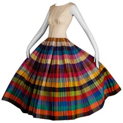 Nina Ricci Vintage Silk Pleated Striped Dress with a Full Sweep, 1950s
