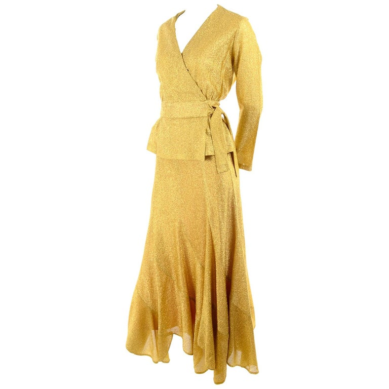 Beverly Paige Gold Lurex Evening Dress 2 pc With Long Bias Cut Skirt, 1970s For Sale