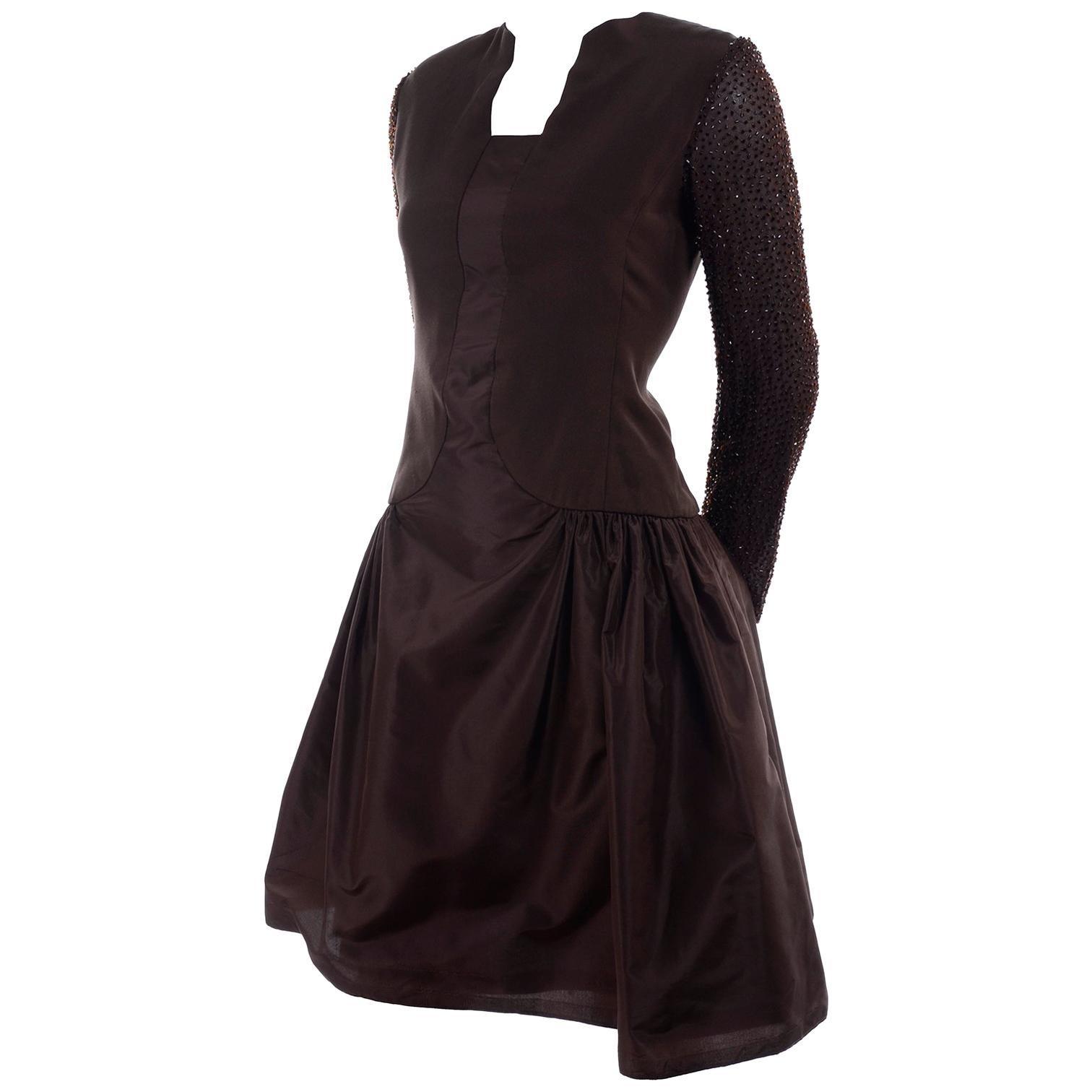 Richilene Vintage Brown Silk and Taffeta Dress With Long Beaded Sleeves, 1980s