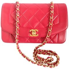 Chanel Vintage red lambskin Diana chain shoulder flap bag with CC closure, 1990s