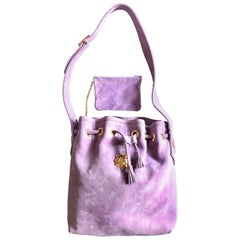 Christian Lacroix Vintage purple suede hobo bucket shoulder bag with gold motifs
