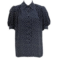1980's YSL/Saint Laurent Navy & White Silk Polka Dot  Blouse