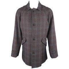 Billy Reid Charcoal Plaid Wool Blend Raglan Sleeve Coat