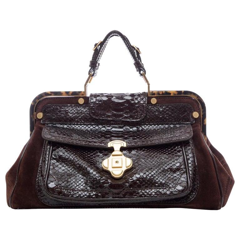 Oscar De La Renta Chocolate Brown Suede Lizard Top Handle Handbag, Fall 2007 For Sale