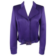 Escada Jacket - US 4 / DE 34 Purple Cropped Pointed Lapel Belted