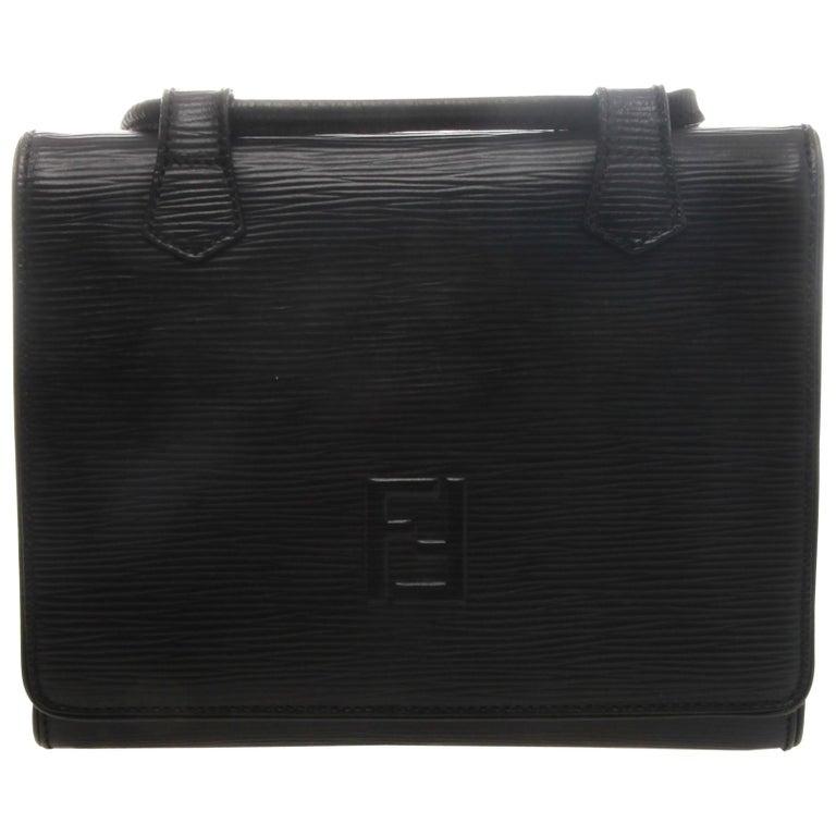 Fendi Black Epi Leather Crossbody Bag For Sale