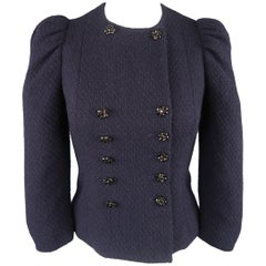Moschino Navy Boucle Rhinestone Button Puff Sleeve Jacket