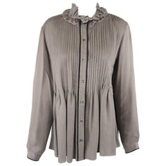 Etro Grey Pleated Velvet Trim Ruffle Blouse