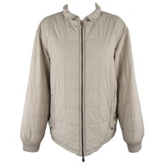 Loro Piana Large - Beige Quilted Suede Trim Jacket