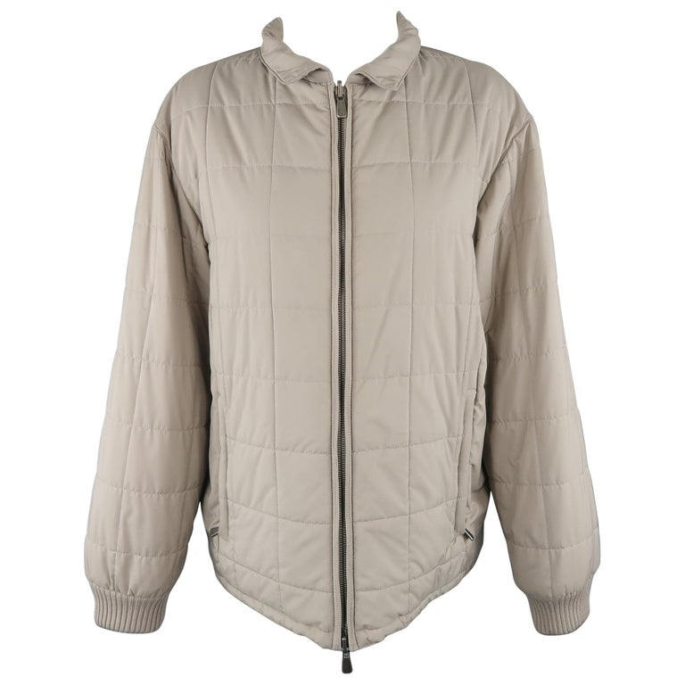 Loro Piana Large - Beige Quilted Suede Trim Jacket For Sale