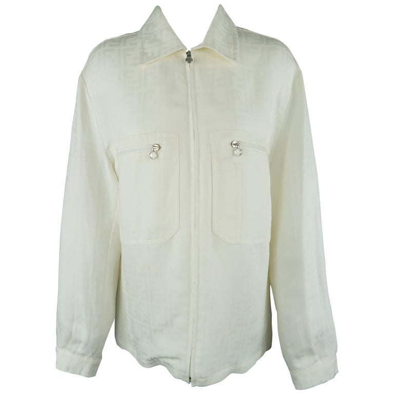 Fendi Cream Zucca Monogram Print Collared Zip Jacket For Sale