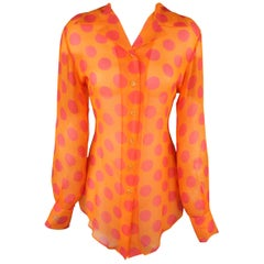 Versace Classic Orange and Pink Polka Dot Silk Blouse
