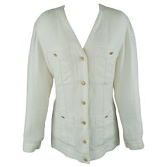 Chanel Cream Linen V Neck Patch Pocket Jacket