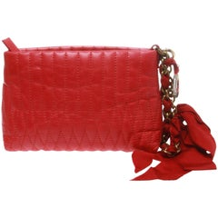 """Lanvin red """"Mini Happy' Quilted leather clutch"""