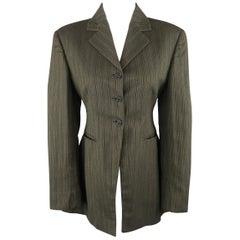 Romeo Gigli Green and Brown Striped Cotton Cascade Peplum Jacket