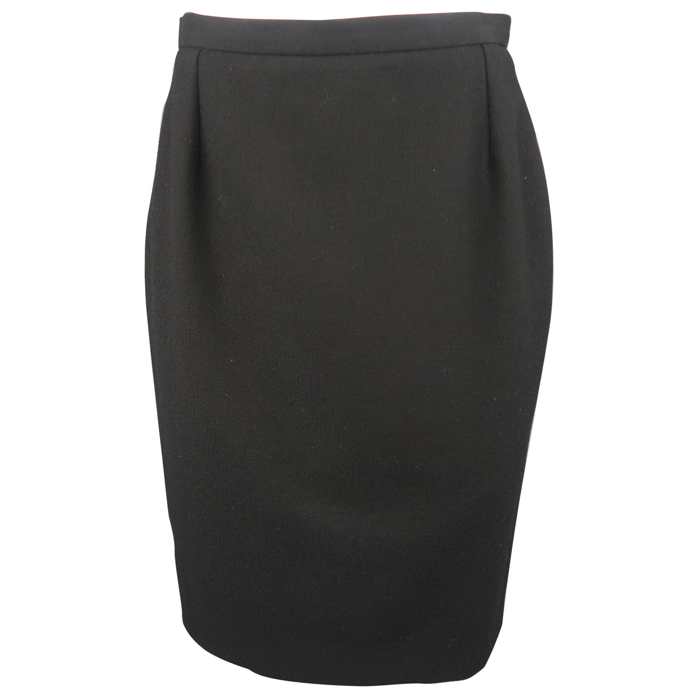 Yves Saint Laurent Vintage Black Wool Classic Pencil Skirt