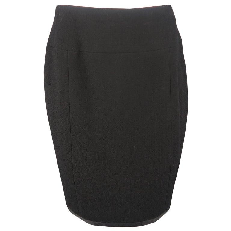 Chanel Vintage Black Wool Pencil Skirt
