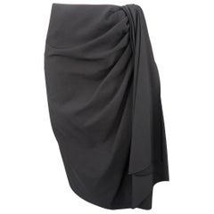 Lanvin Black Wool Draped Asymmetrical Skirt