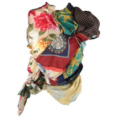 COMME des GARCONS Size L Mixed Scarf Gathered Draped Patchwork Blouse