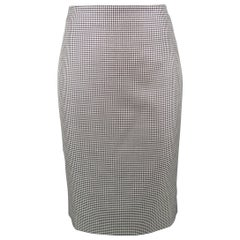 Alexander McQueen White Silk Wool Pencil Skirt