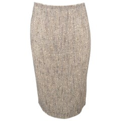 Prada Gray Beige Wool Blend Pencil Skirt