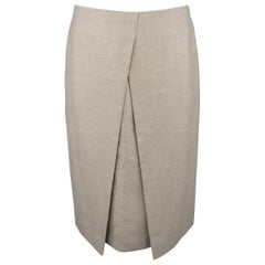 Hermes Taupe Cashmere A-line Skirt
