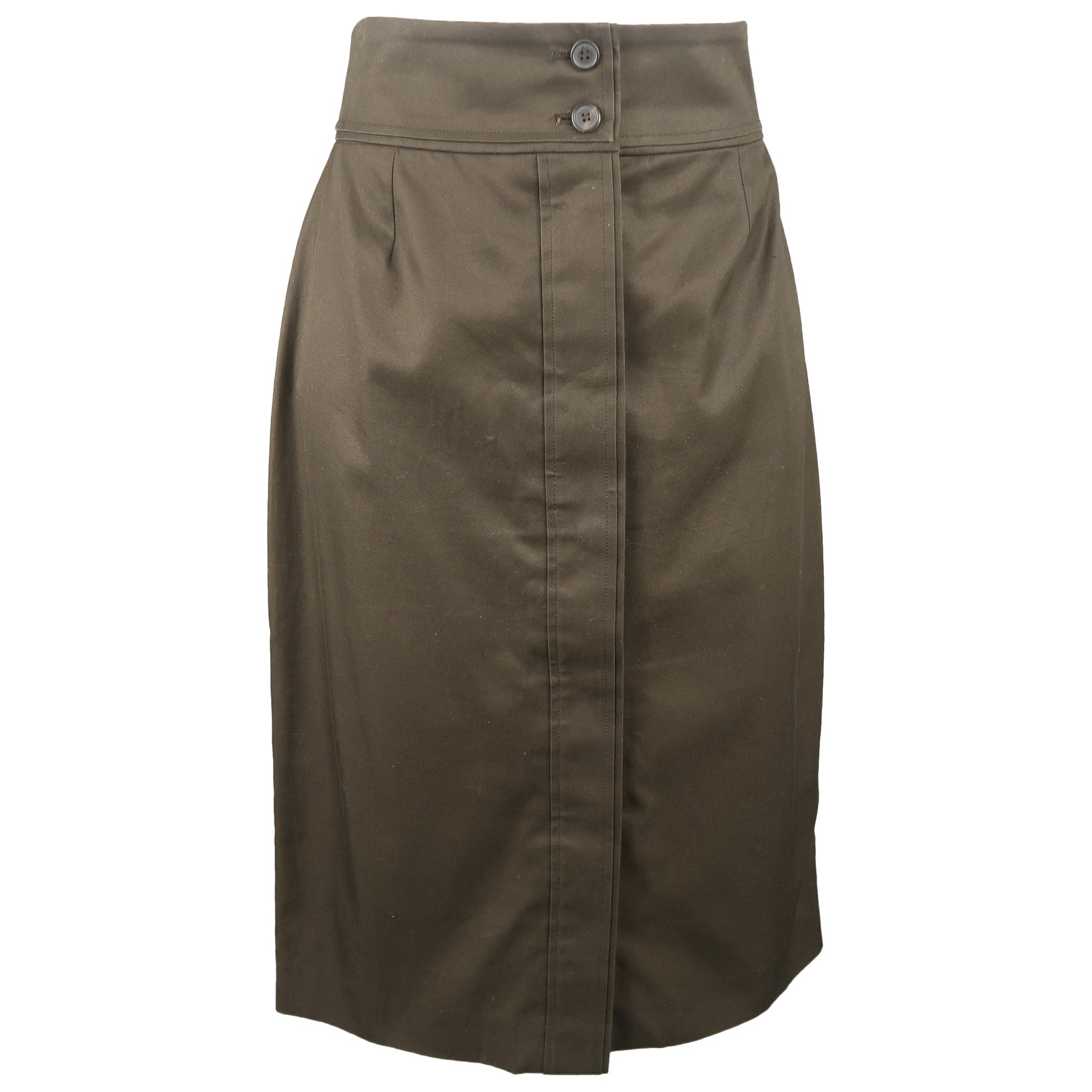 Yves Saint Laurent By Tom Ford Dark Green Cotton Pencil Skirt