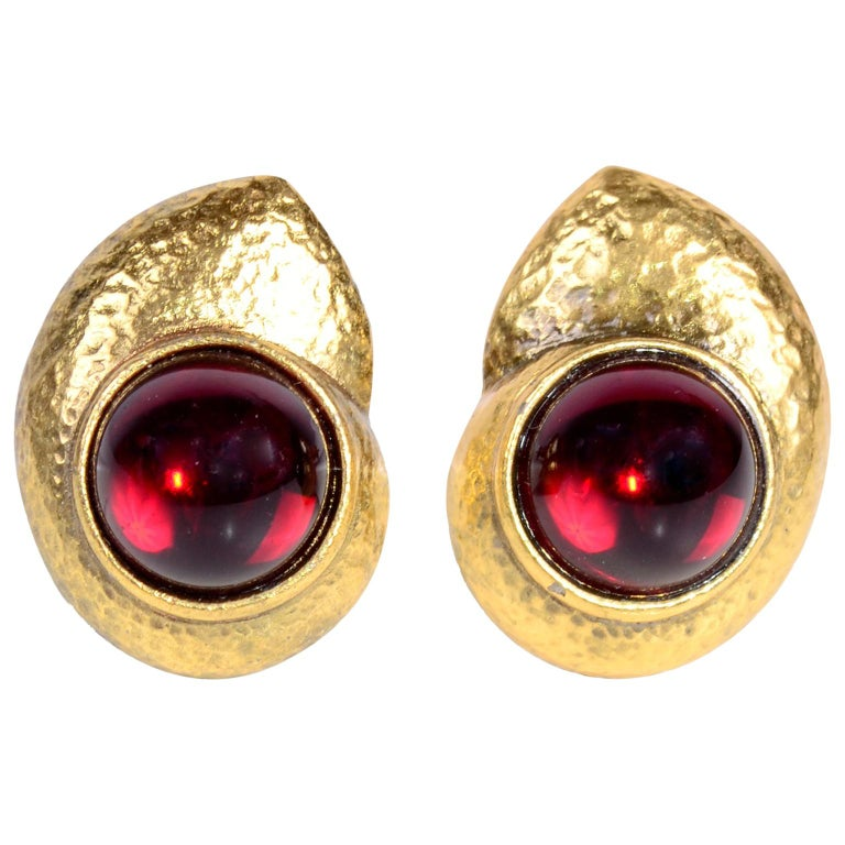 Yves Saint Laurent YSL Vintage Pierced Earrings With Red Cabochons in Gold Metal For Sale