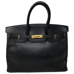 Hermes Ardennes leather Black Birkin 35 Bag