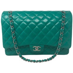 Chanel Menthe Green Leather Maxi Bag